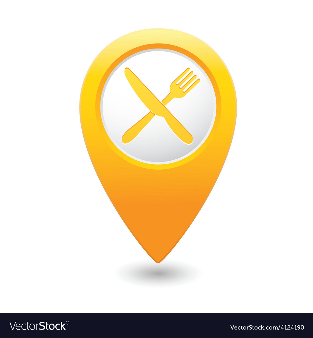Knife and fork map pointer yellow vector | Price: 1 Credit (USD $1)