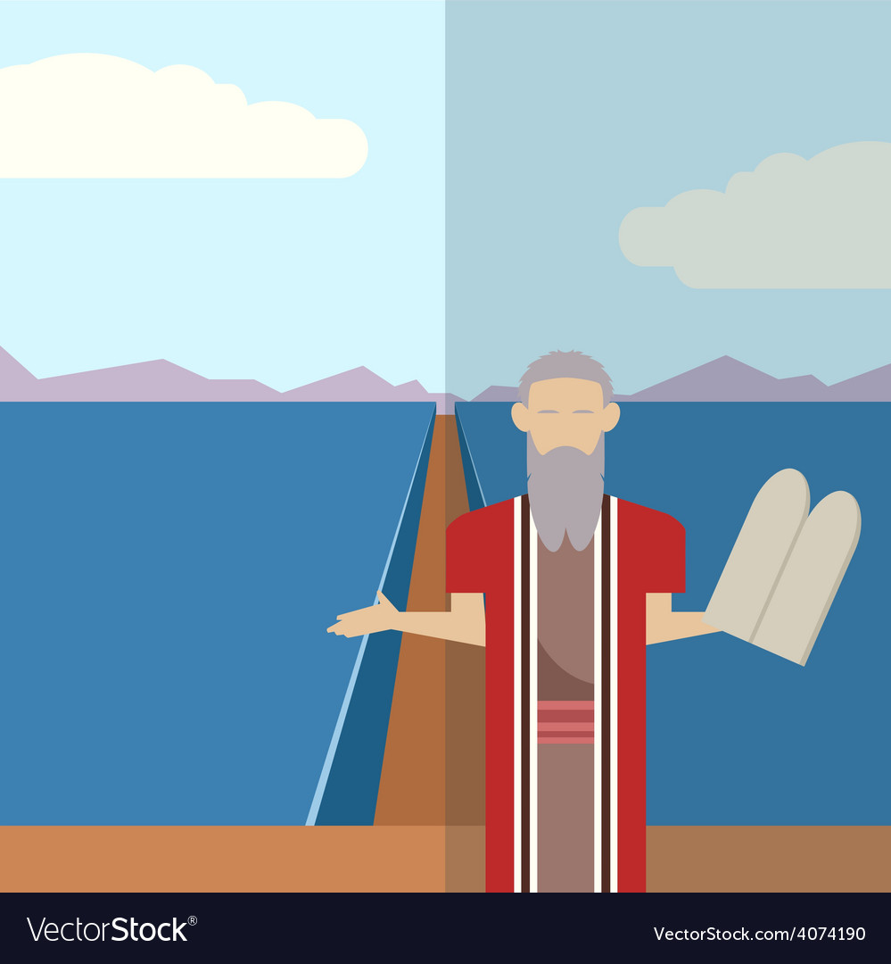 Moses and sea icon 2 vector | Price: 1 Credit (USD $1)