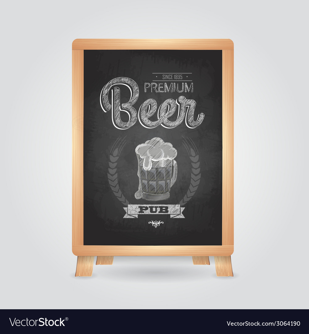 Poster with beer in mag chalk drawing on blackboa vector | Price: 1 Credit (USD $1)