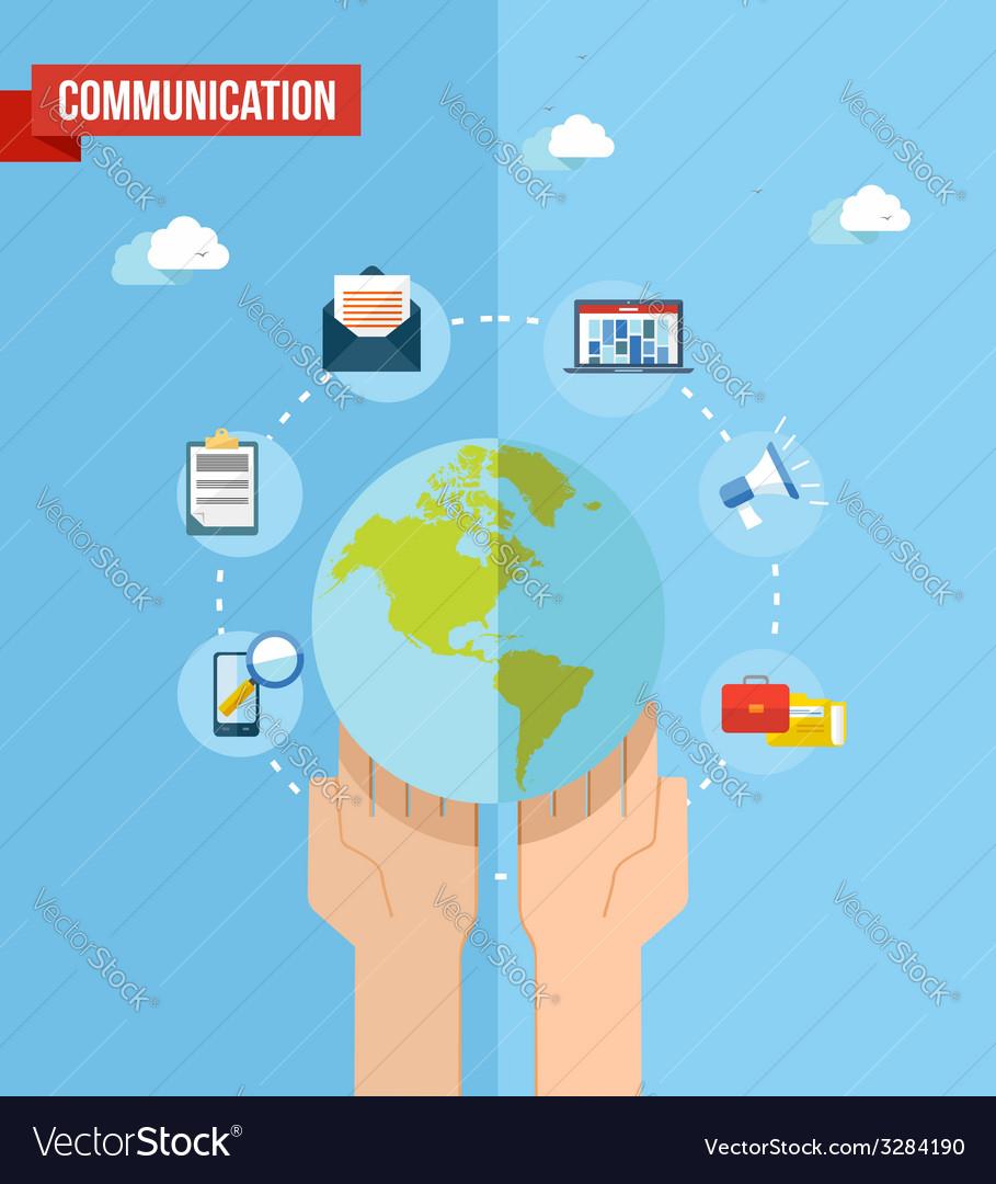 Social media world concept flat vector   Price: 1 Credit (USD $1)
