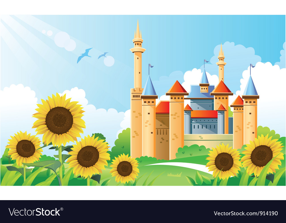 Summer castle background vector | Price: 5 Credit (USD $5)