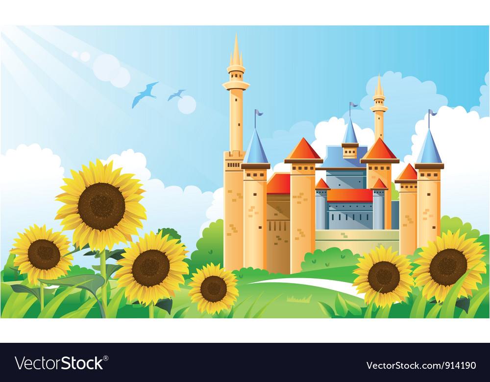 Summer castle background vector | Price: 5 Credit (USD $5)