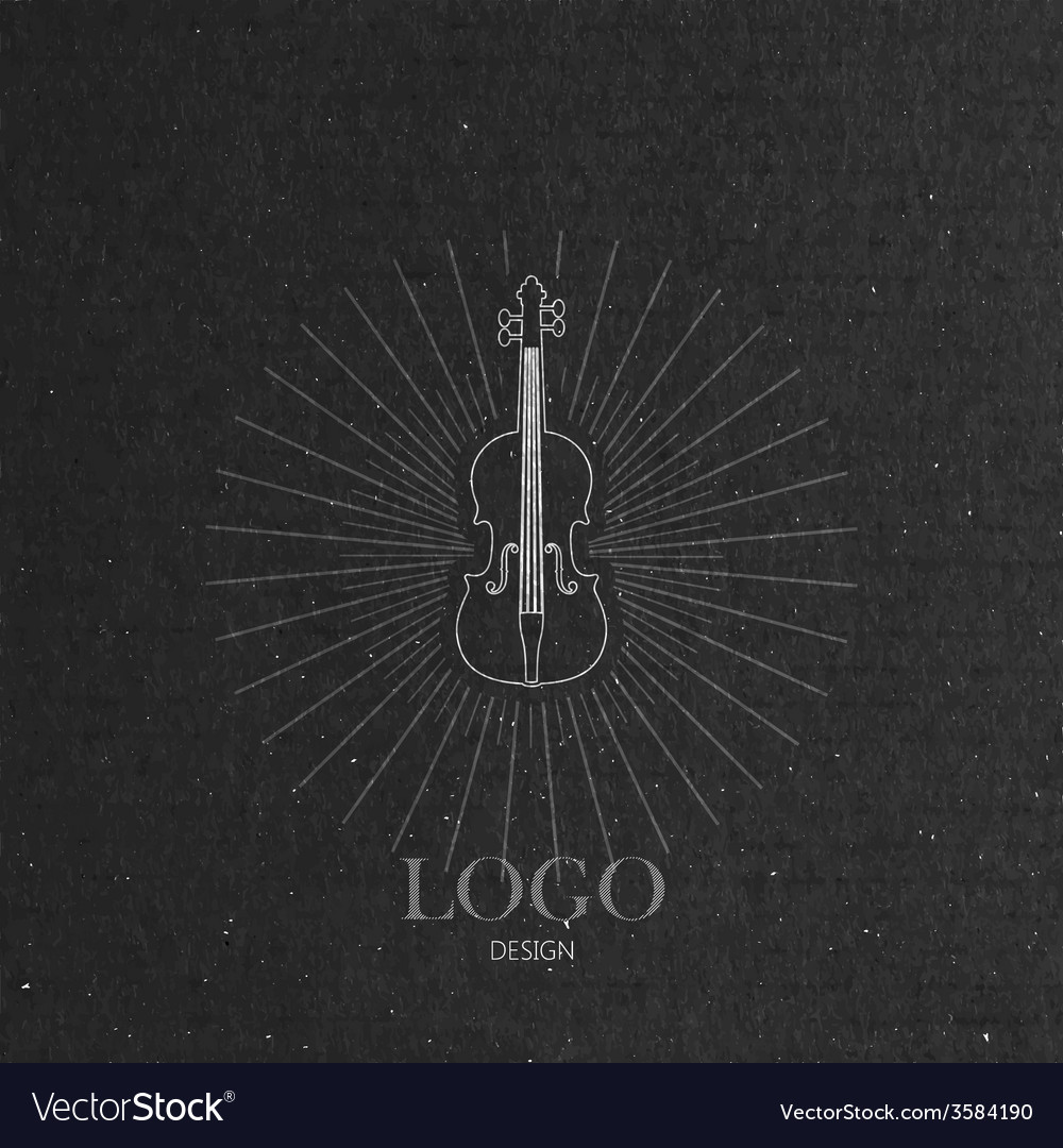 With the violin on cardboard texture music logo vector   Price: 1 Credit (USD $1)