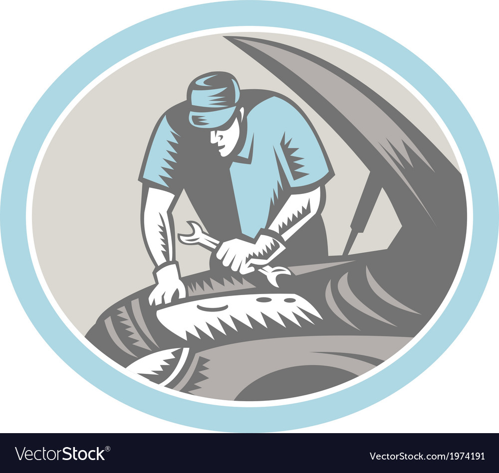 Auto mechanic car repair woodcut retro vector | Price: 1 Credit (USD $1)