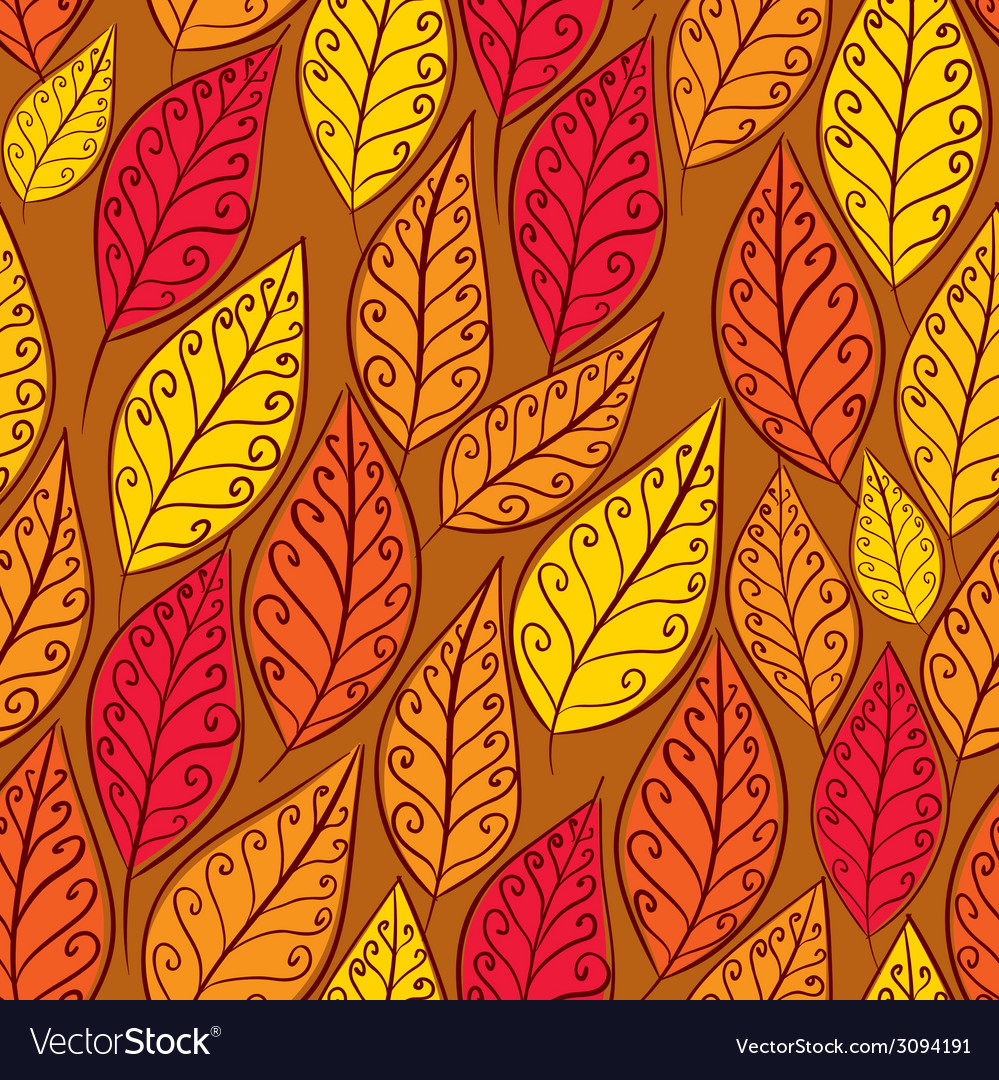 Autumn leaves seamless pattern floral seamless vector | Price: 1 Credit (USD $1)