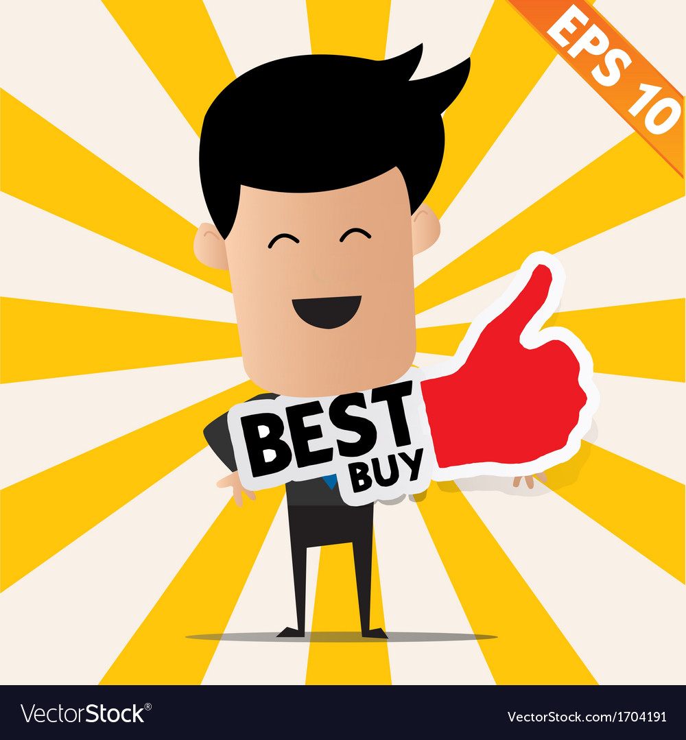 Business man holding sticker best tag collection - vector   Price: 1 Credit (USD $1)