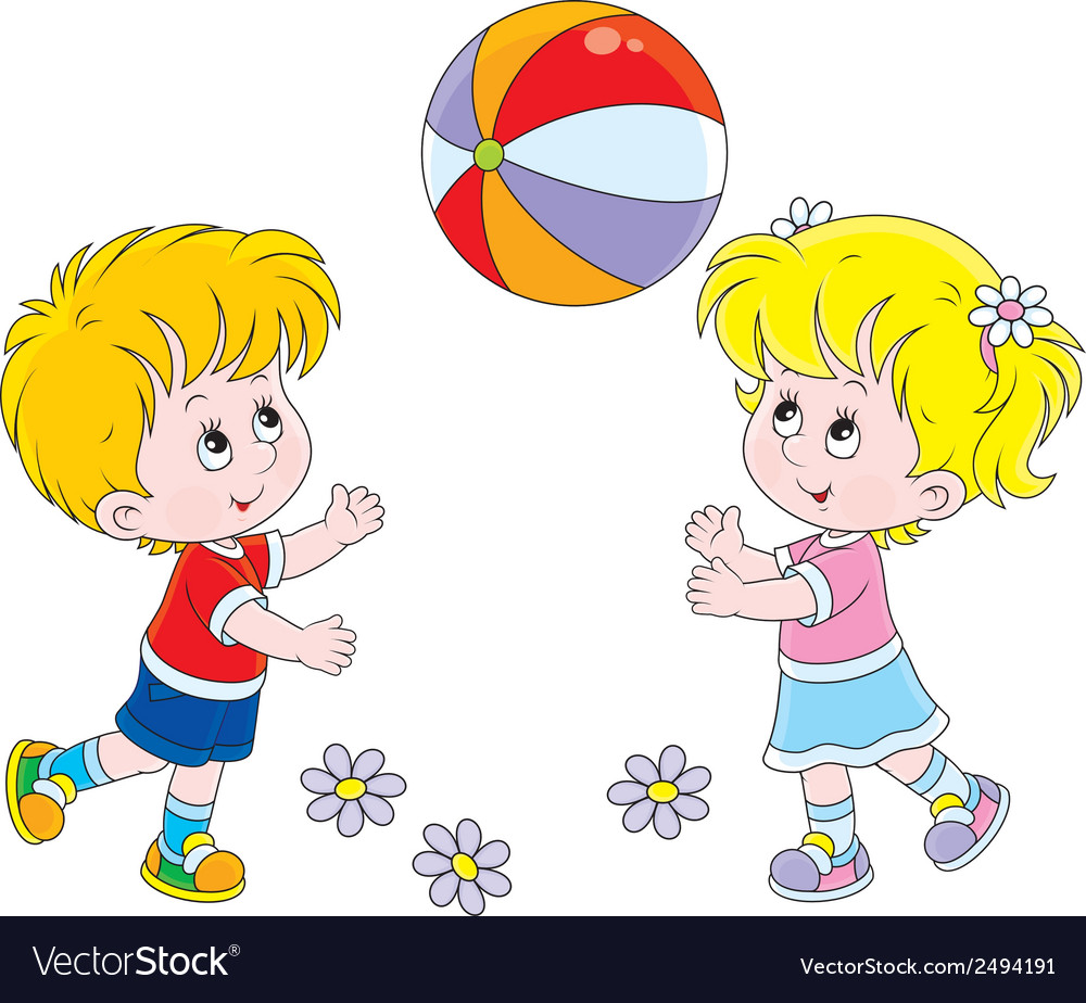 Children playing a ball vector | Price: 1 Credit (USD $1)