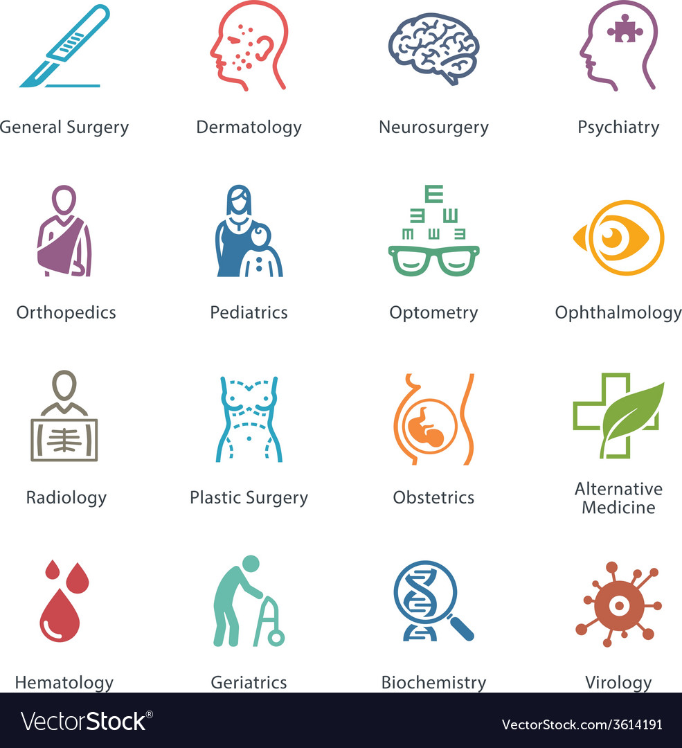 Colored medical specialties icons - set 2 vector | Price: 1 Credit (USD $1)