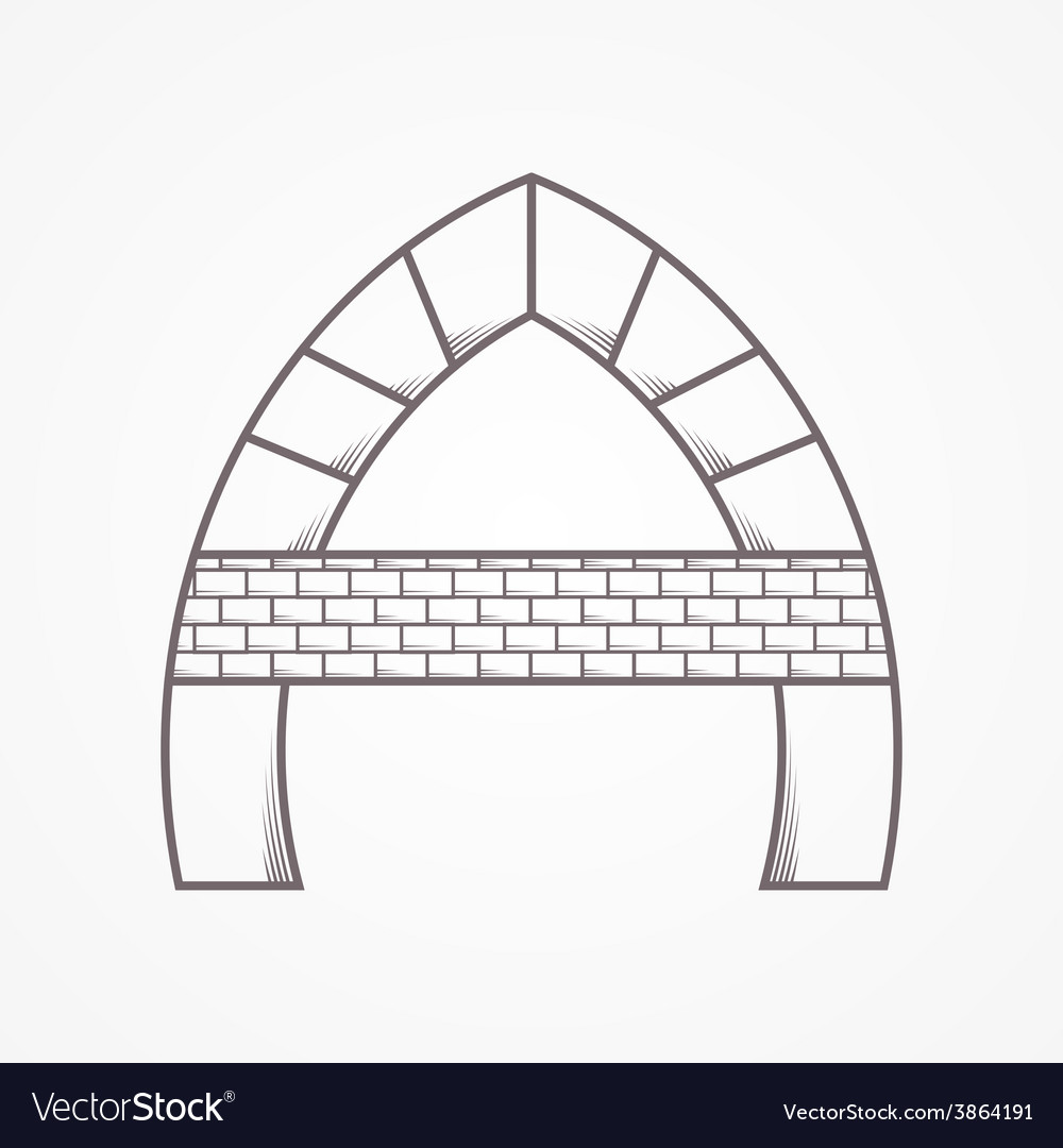 Flat line icon for arch vector | Price: 1 Credit (USD $1)