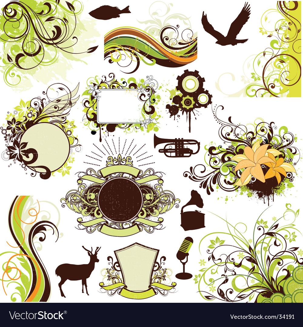 Floral grunge design elements set vector | Price: 3 Credit (USD $3)