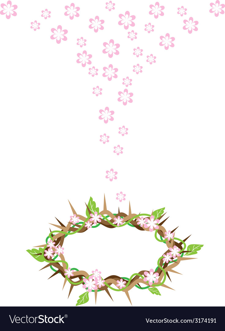 Fresh leaves falling to a crown of thorns vector | Price: 1 Credit (USD $1)