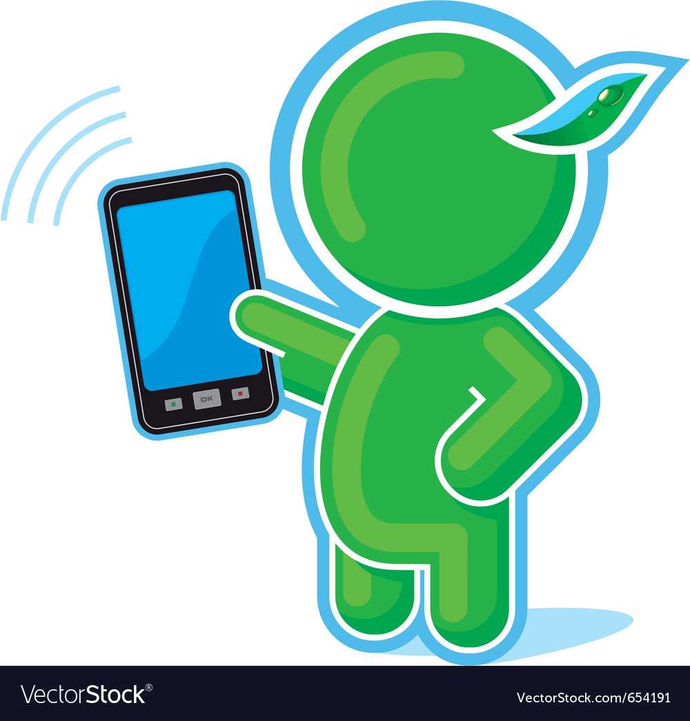 Green hero with cell phone vector | Price: 1 Credit (USD $1)