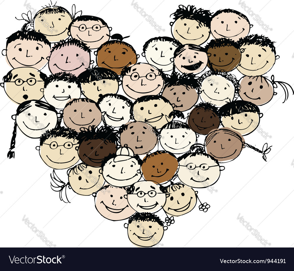 Happy peoples heart shape for your design vector   Price: 1 Credit (USD $1)