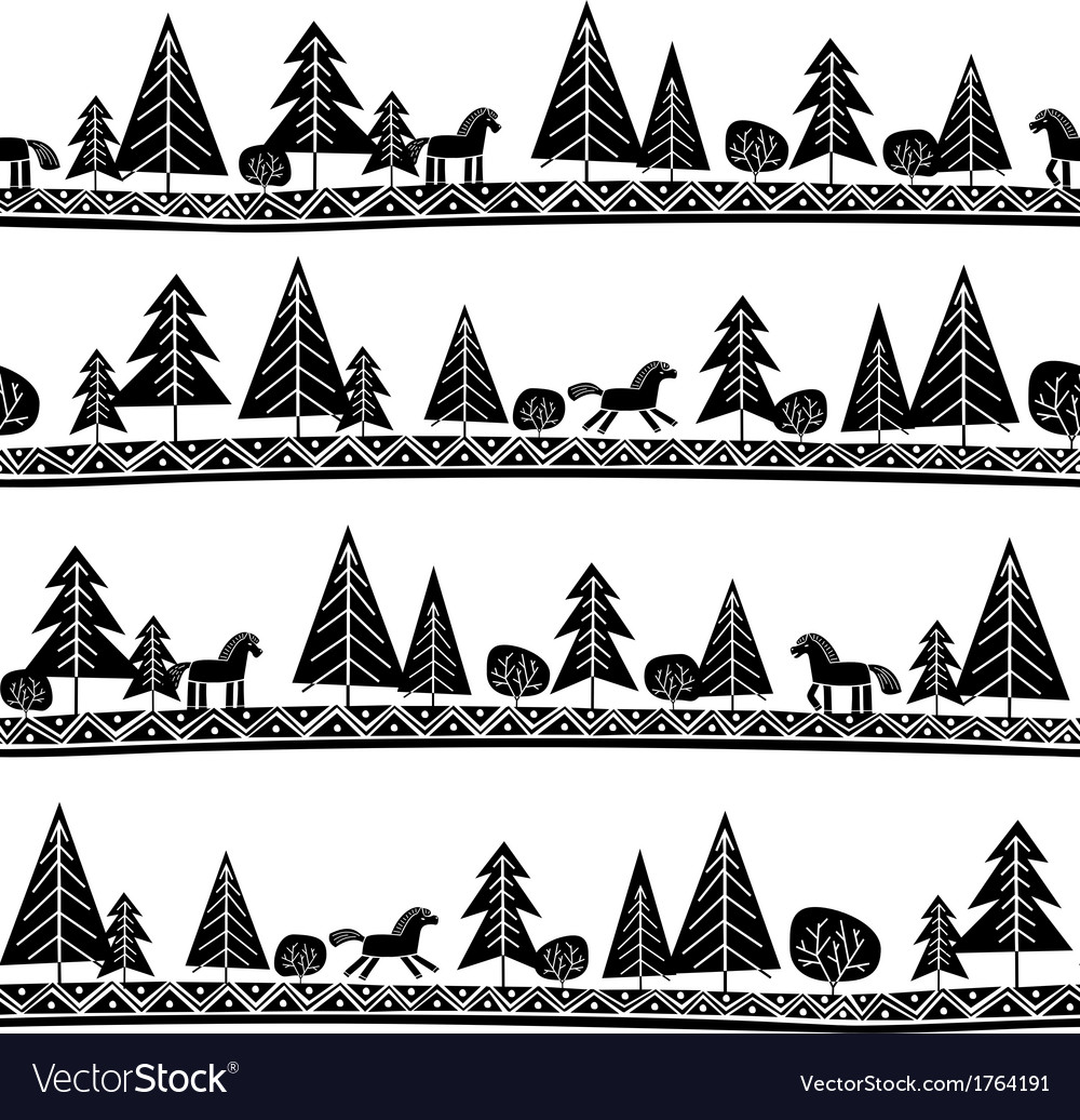 Horse and trees seamless pattern vector | Price: 1 Credit (USD $1)