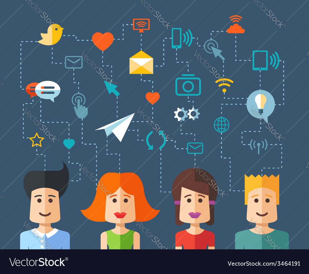 Isolated flat design people social network compo vector | Price: 1 Credit (USD $1)