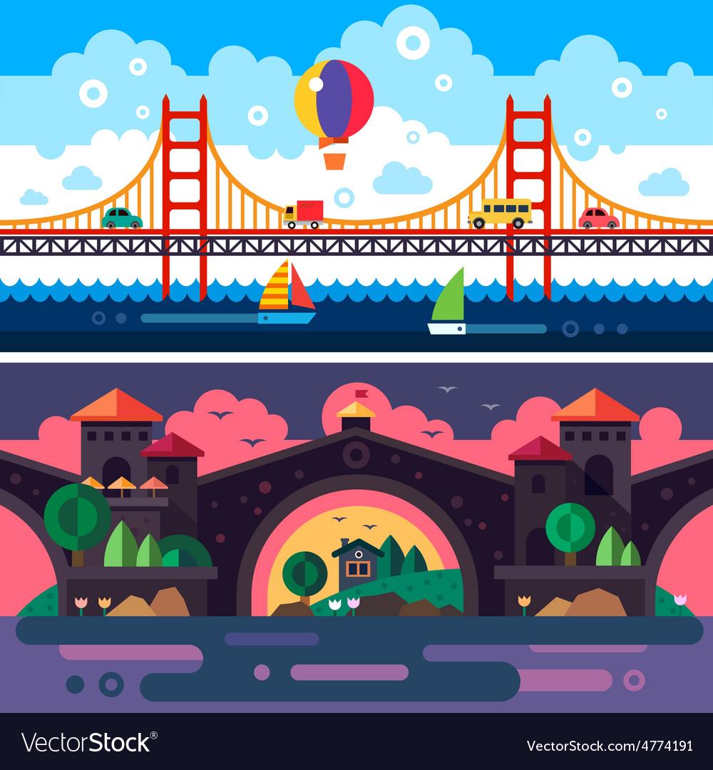 Landscape with bridge vector | Price: 3 Credit (USD $3)