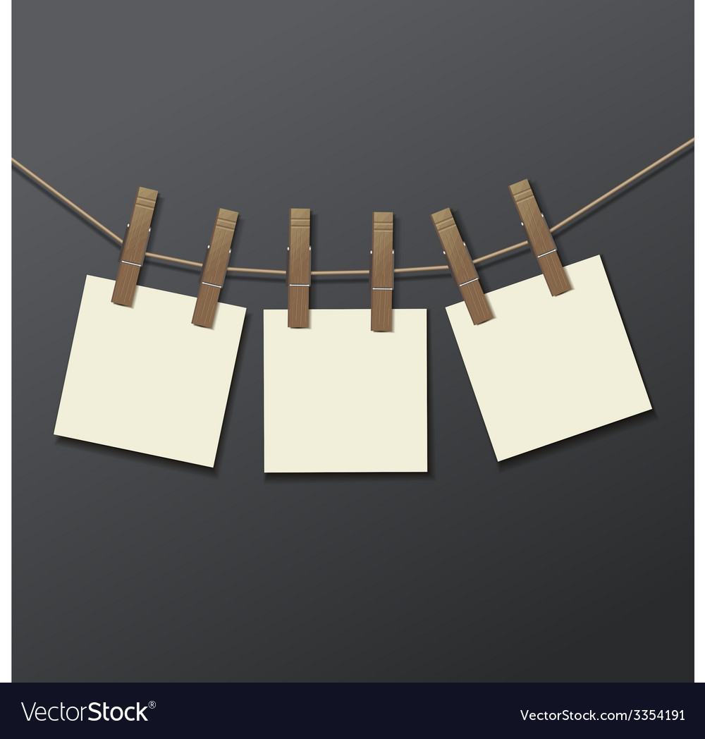 Photo frame with clothespin isolated realistic vector | Price: 1 Credit (USD $1)