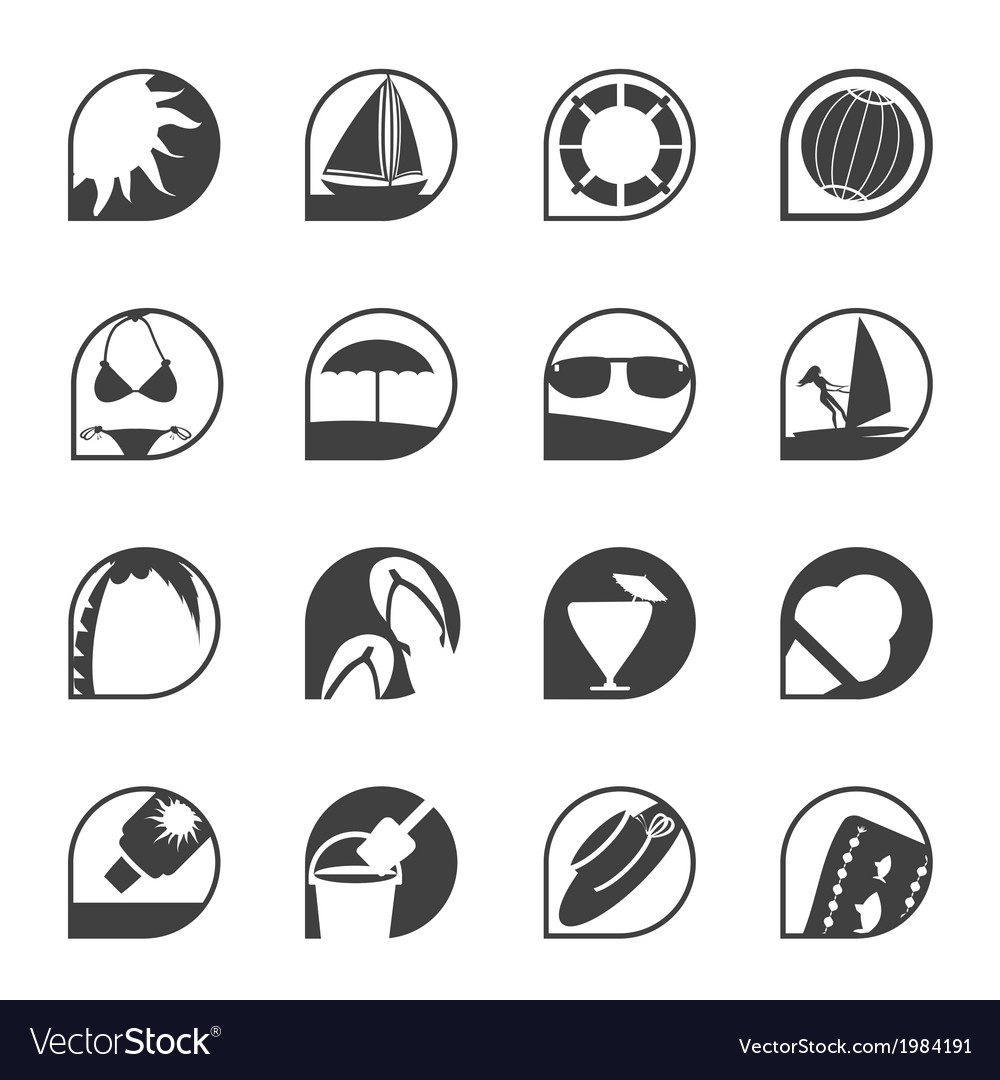 Simple summer and holiday icons vector | Price: 1 Credit (USD $1)