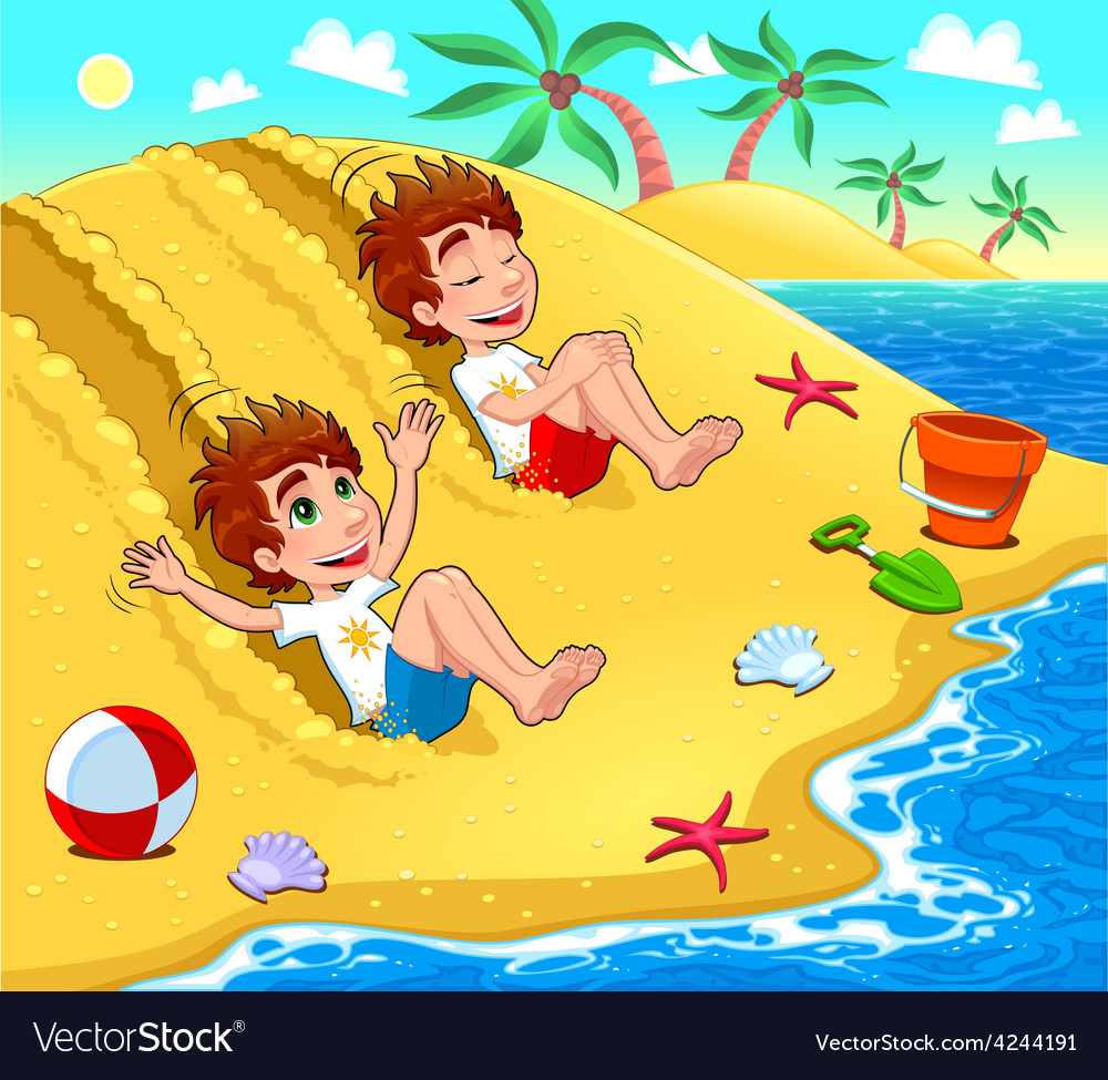 Twins are playing on the beach vector | Price: 3 Credit (USD $3)