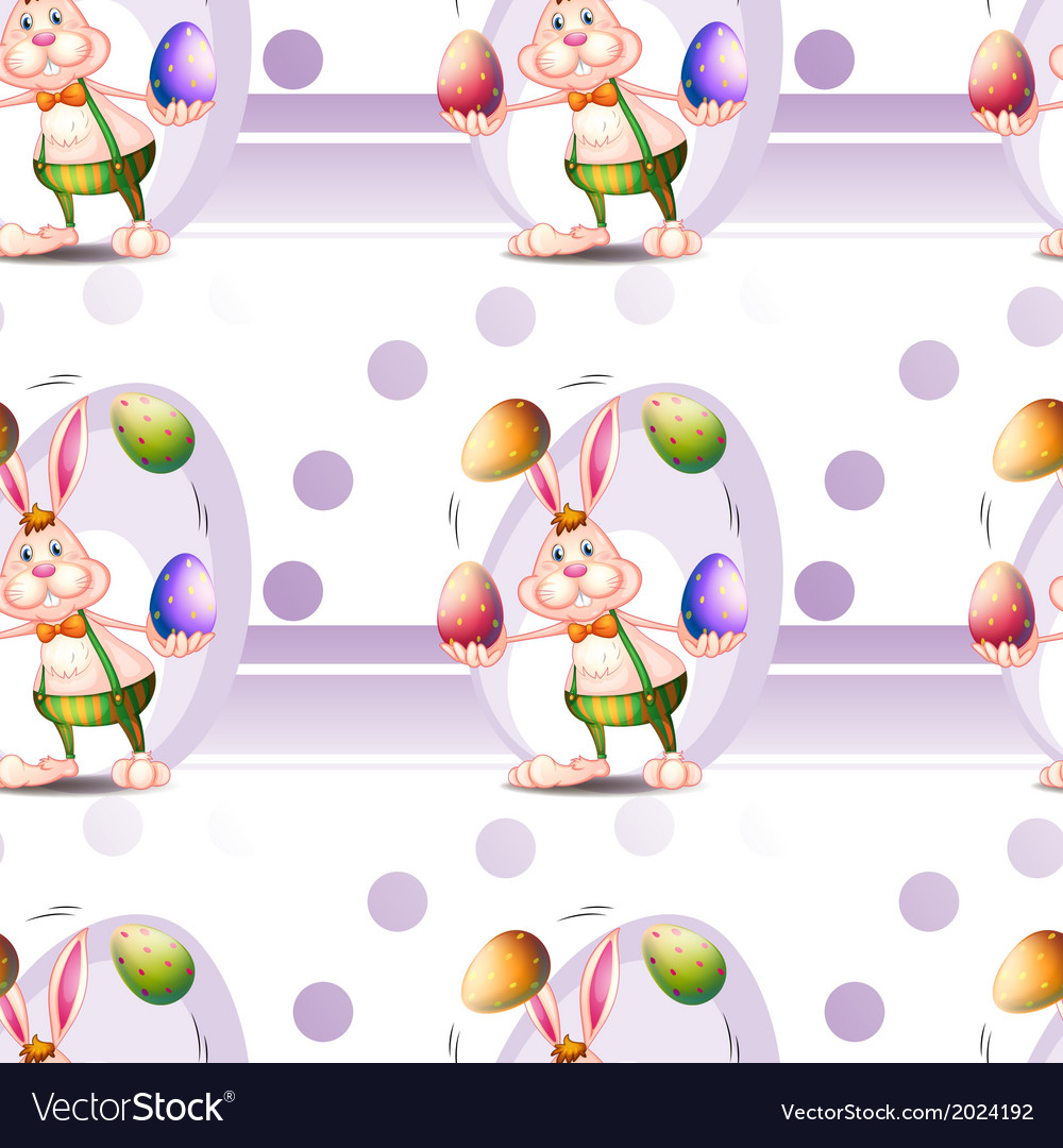 A seamless design with a bunny and easter eggs vector | Price: 1 Credit (USD $1)