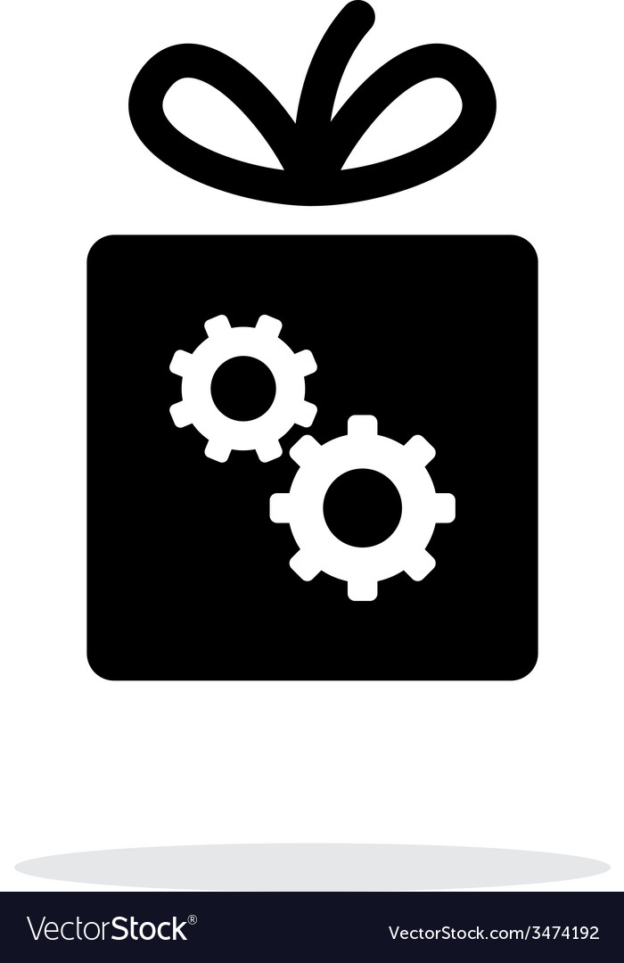Box with gear icon on white background vector | Price: 1 Credit (USD $1)