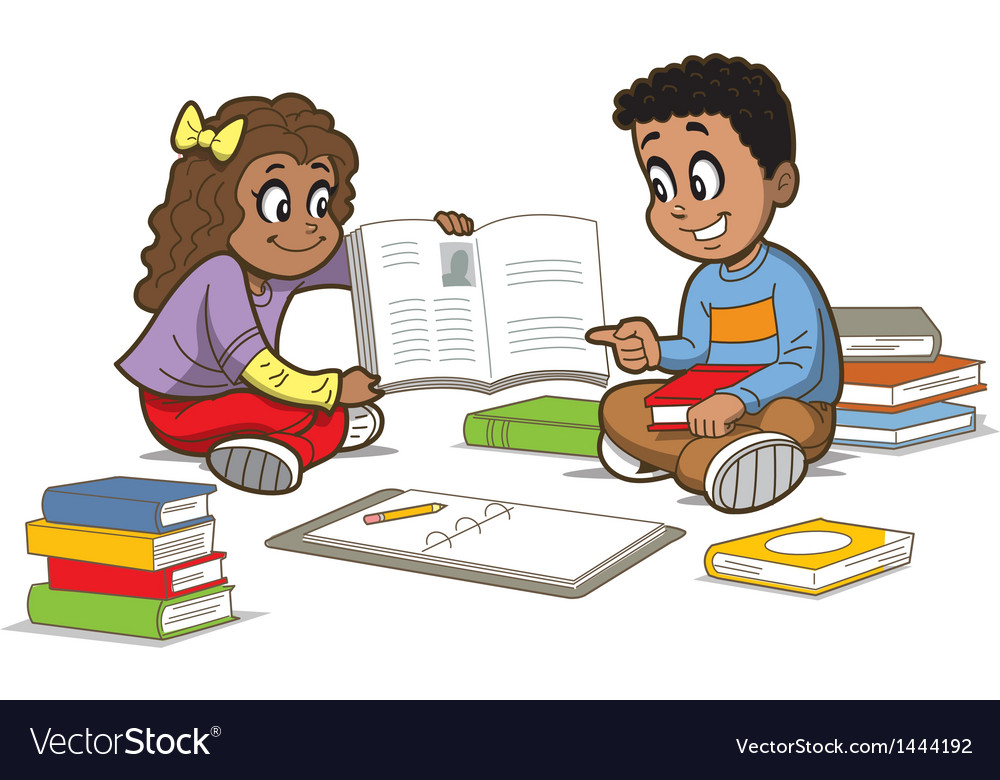 Children with books vector | Price: 1 Credit (USD $1)