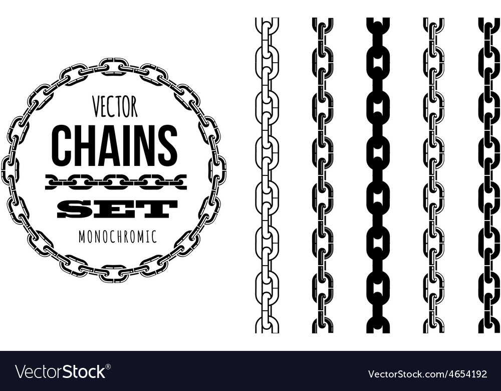 Different type of chains black and white vector   Price: 1 Credit (USD $1)