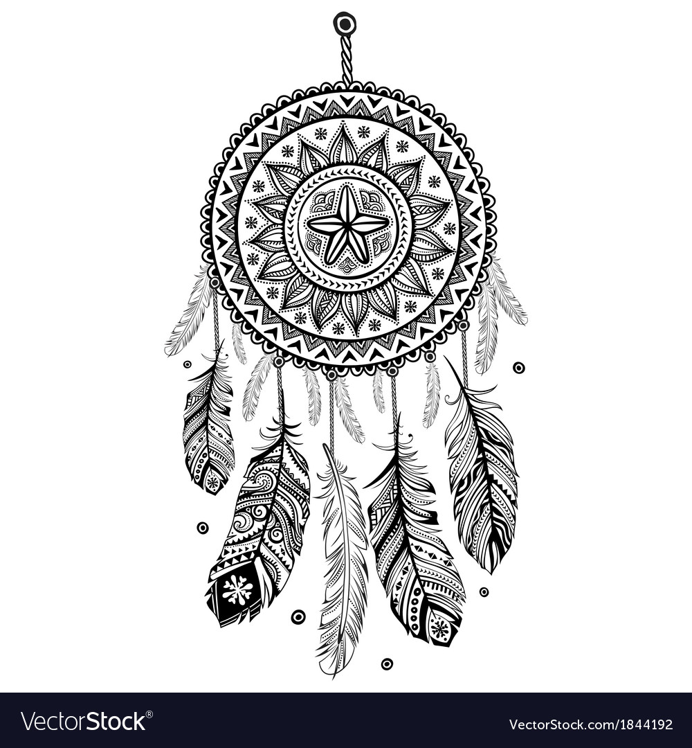 Ethnic american indian dream catcher vector | Price: 1 Credit (USD $1)