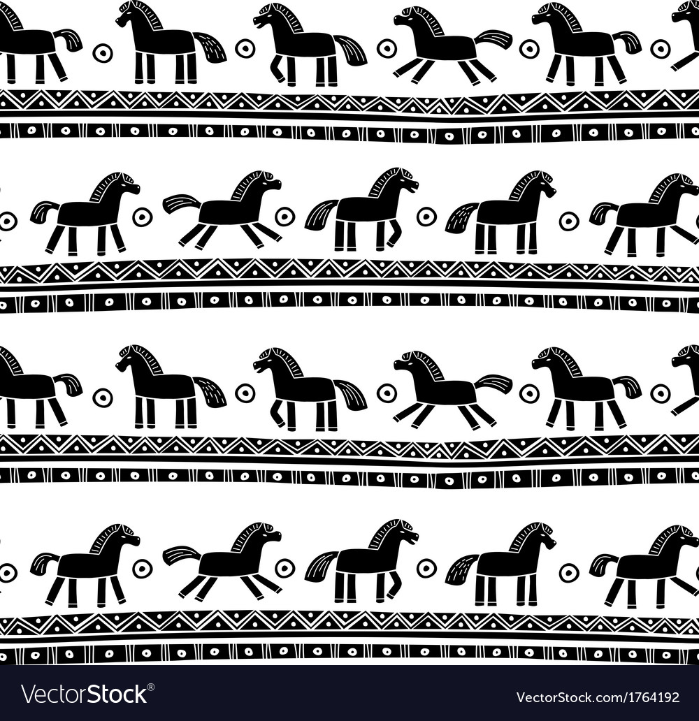 Horse seamless pattern vector | Price: 1 Credit (USD $1)