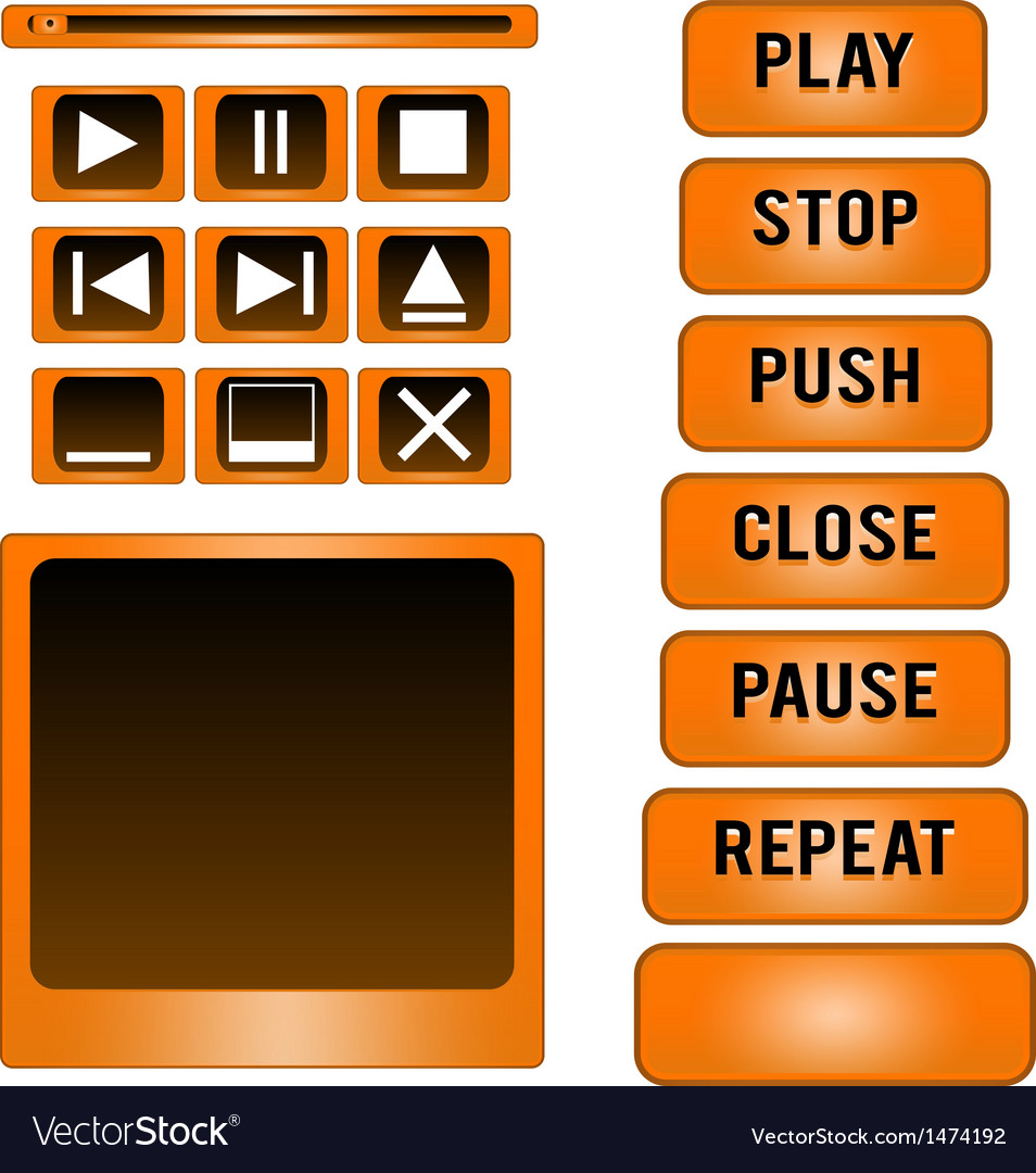 Media player buttons design elements vector | Price: 1 Credit (USD $1)