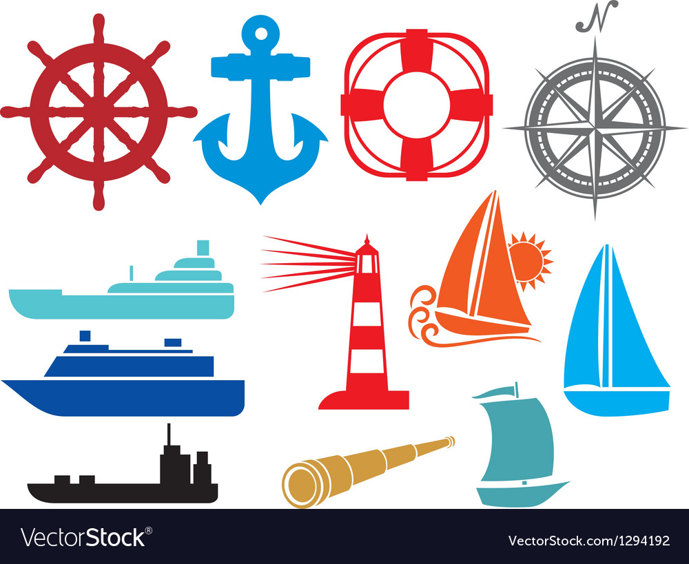Nautical and marine icons vector | Price: 1 Credit (USD $1)