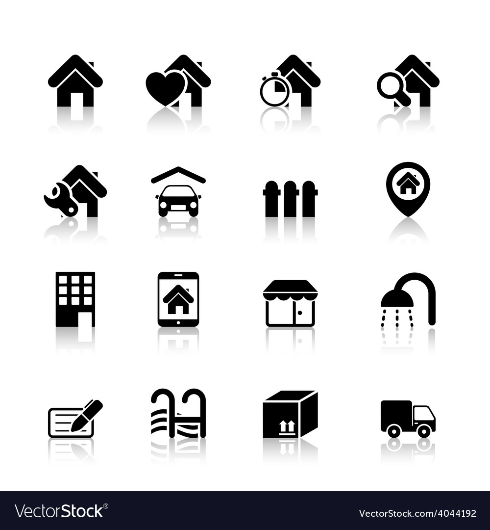 Real estate icons with reflection vector | Price: 1 Credit (USD $1)