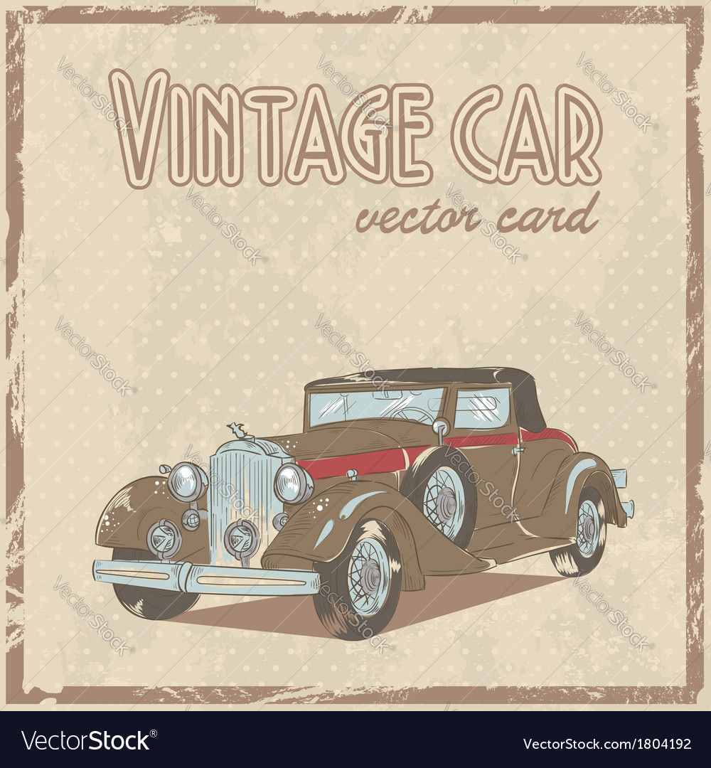 Retro 50s car stylish vintage postcard vector | Price: 1 Credit (USD $1)