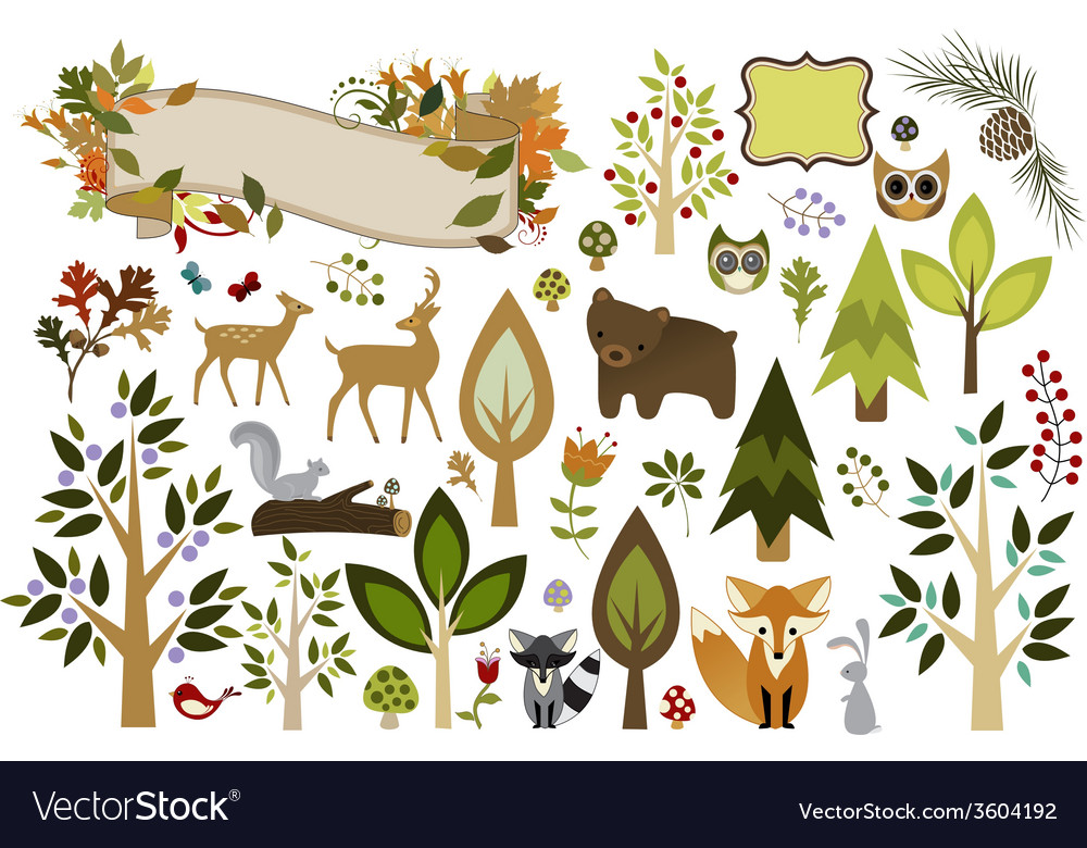 Woodland clipart vector | Price: 1 Credit (USD $1)