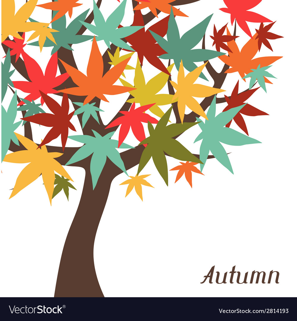 Background of stylized autumn tree for greeting vector | Price: 1 Credit (USD $1)