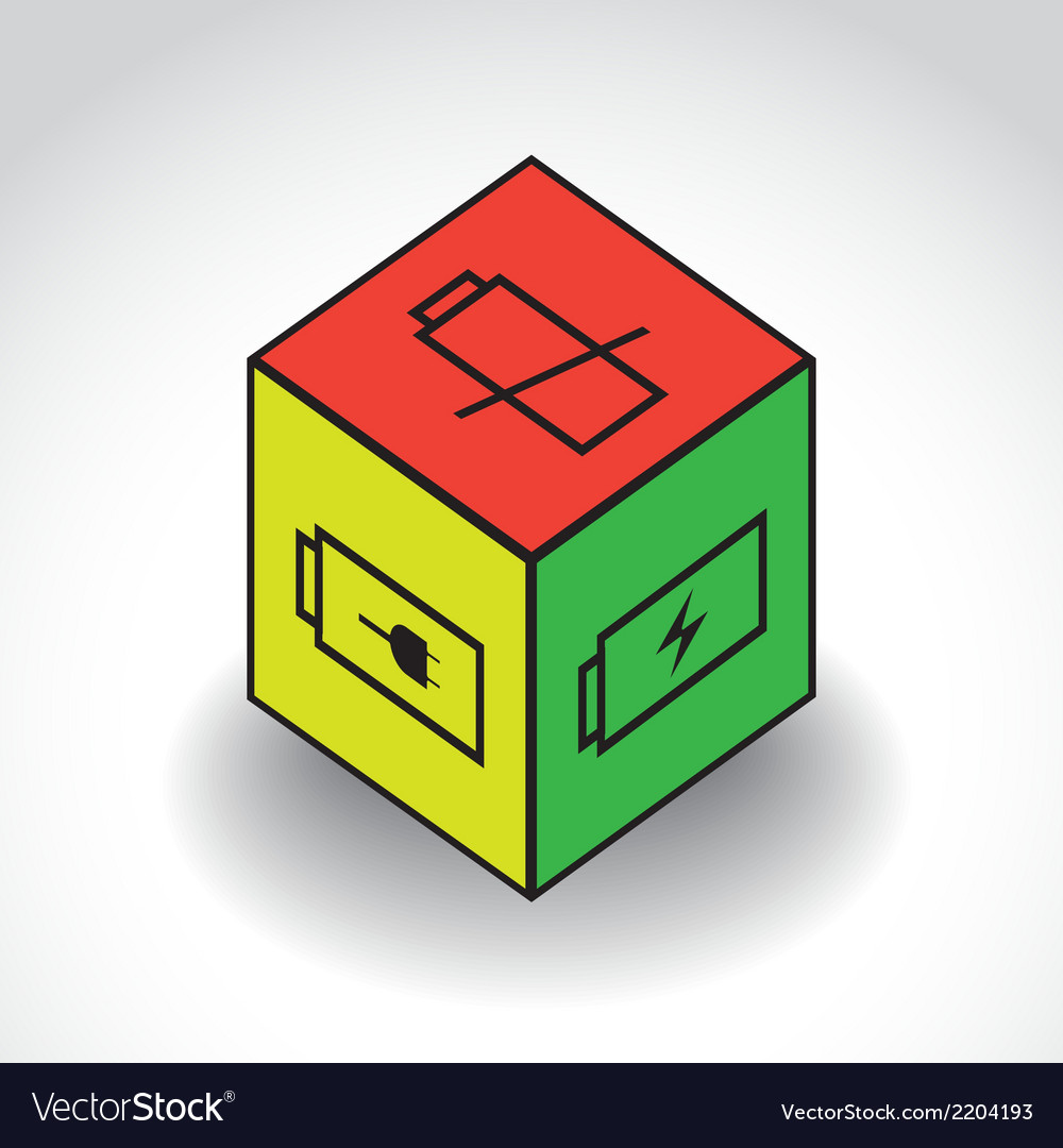 Cubewithbatterysymbolx vector | Price: 1 Credit (USD $1)