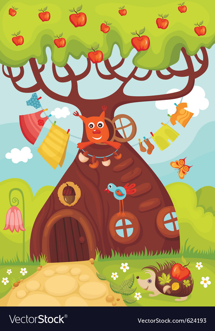 Fairy tree vector
