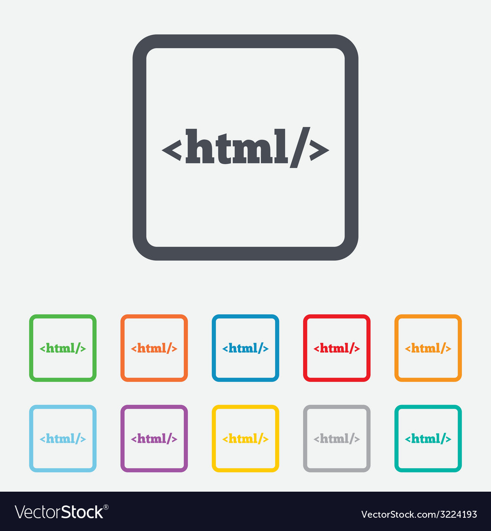Html sign icon markup language symbol vector | Price: 1 Credit (USD $1)
