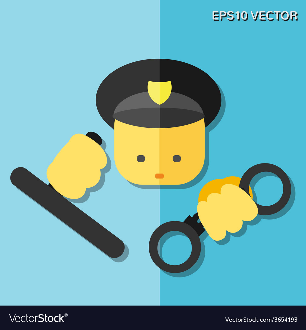 Police flat icon vector | Price: 1 Credit (USD $1)