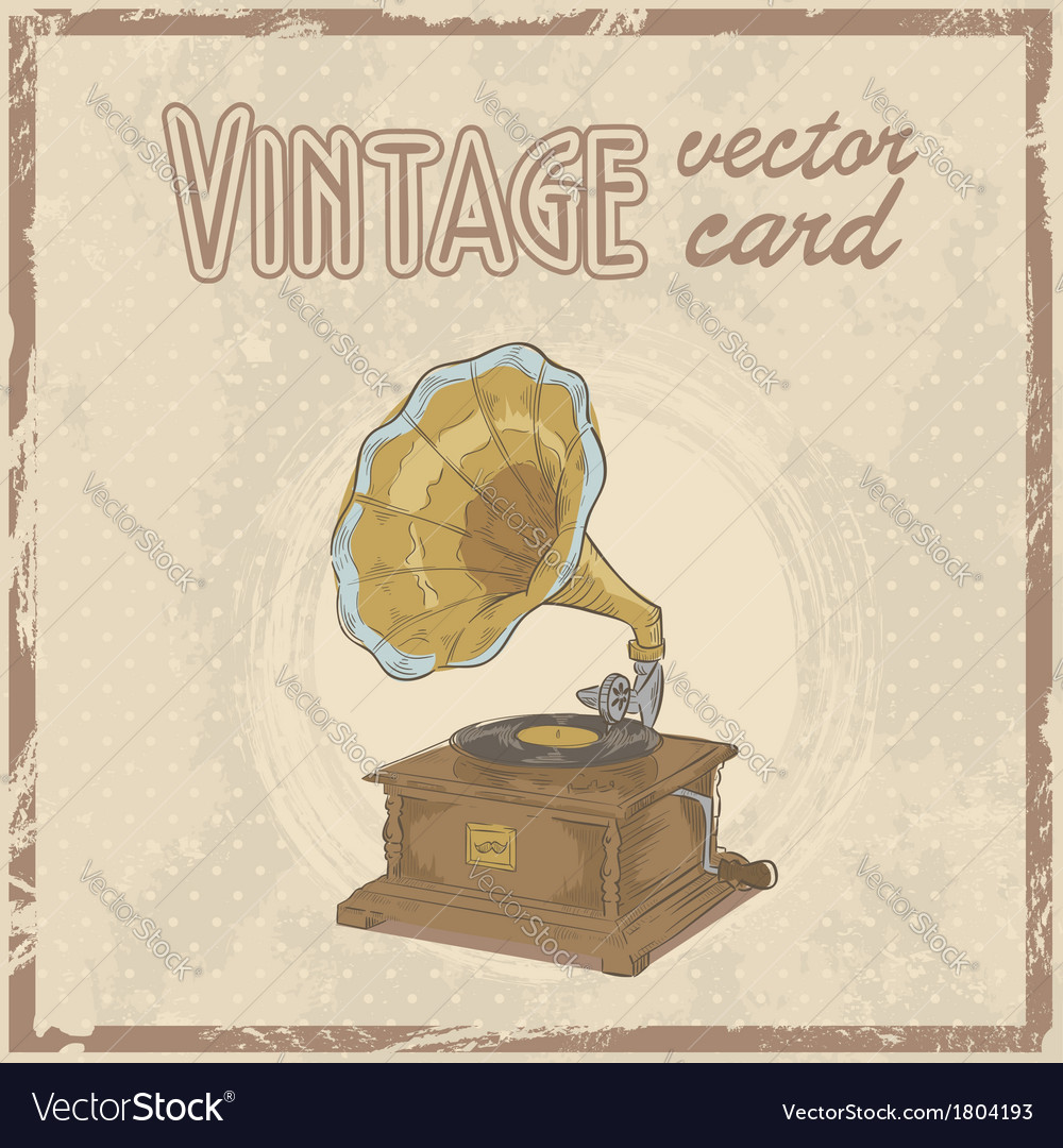 Retro 50s gramophone stylish vintage postcard vector | Price: 1 Credit (USD $1)