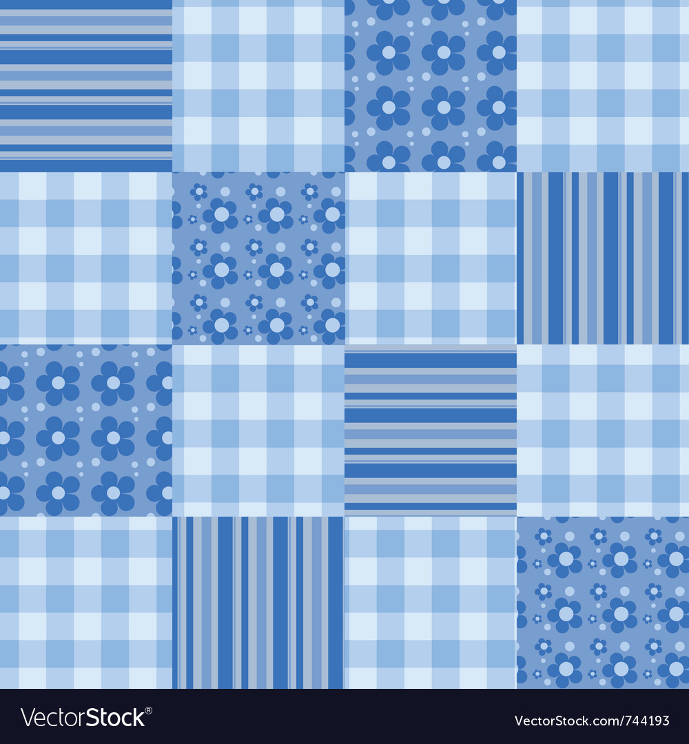 Seamless patchwork pattern blue vector | Price: 1 Credit (USD $1)