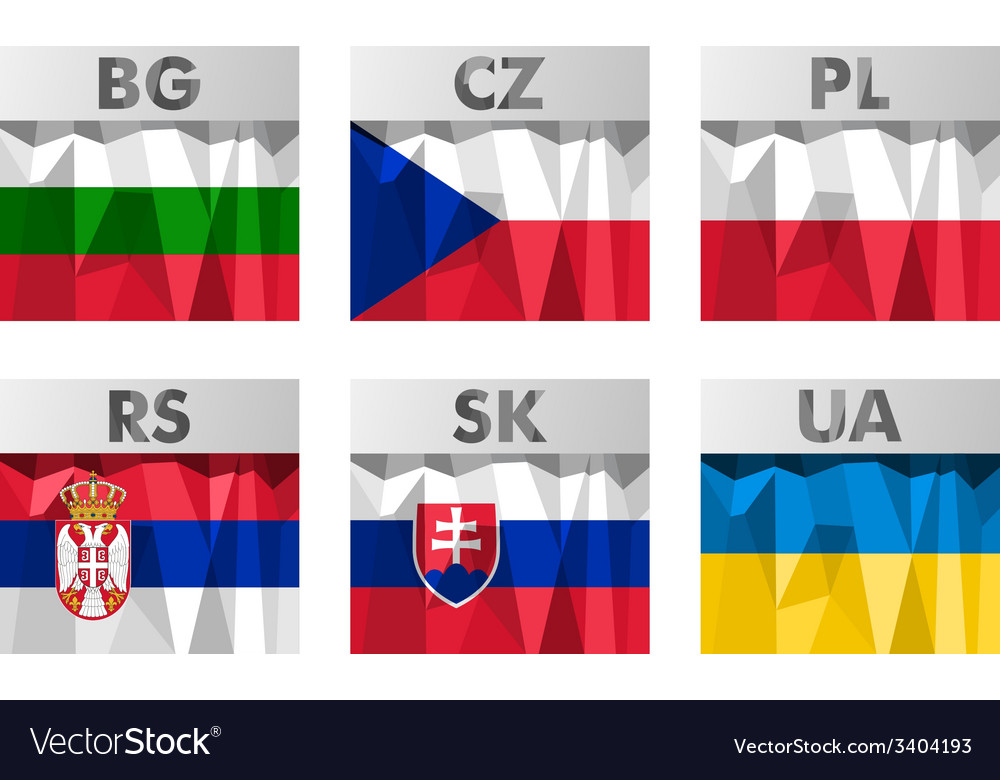Slavic countries flags vector | Price: 1 Credit (USD $1)