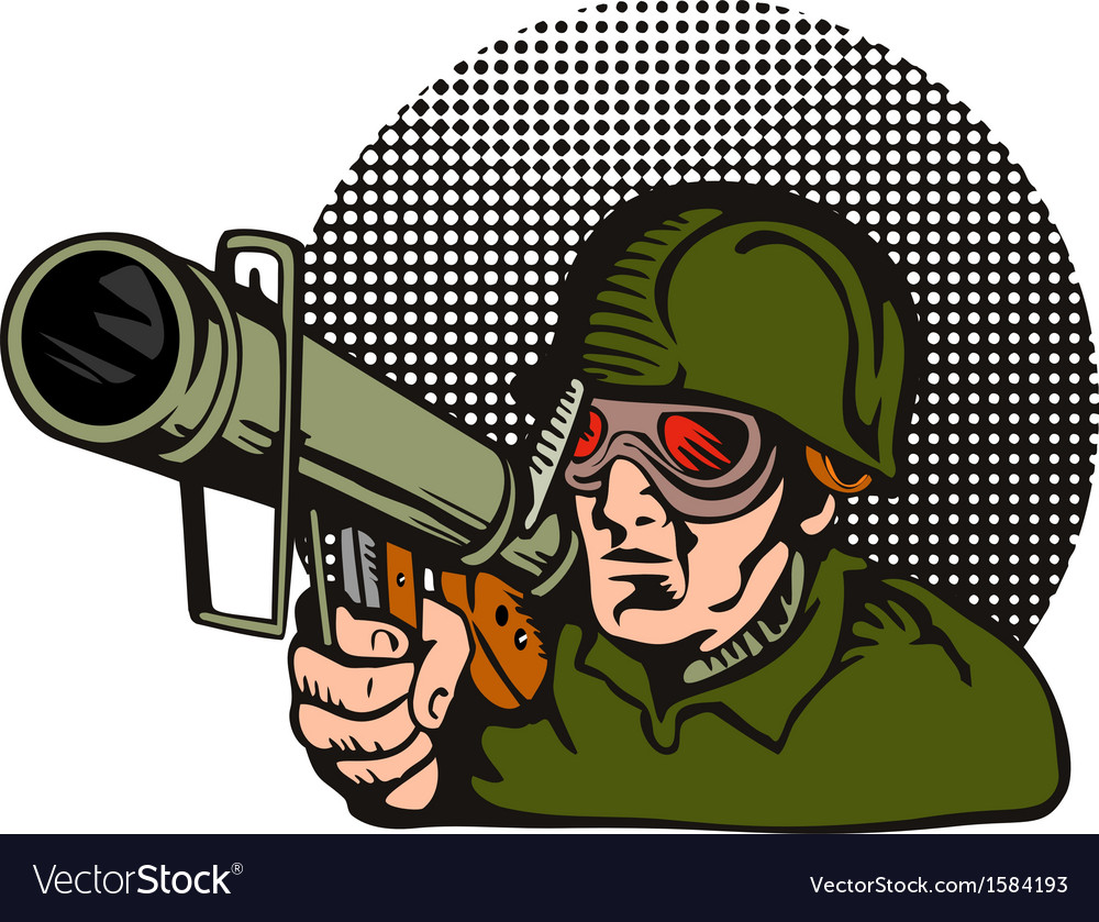 Soldier aiming bazooka vector | Price: 1 Credit (USD $1)