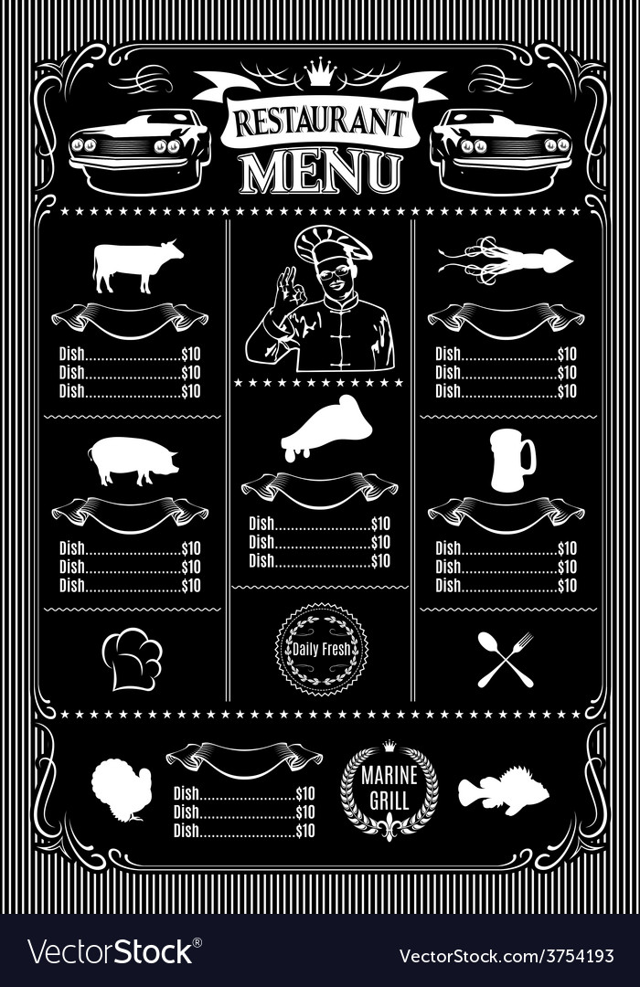 Template for menu on black background and icons of vector | Price: 1 Credit (USD $1)