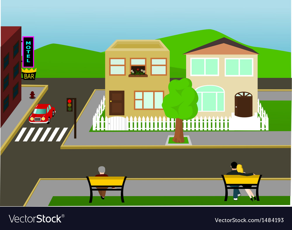Town street view vector | Price: 1 Credit (USD $1)