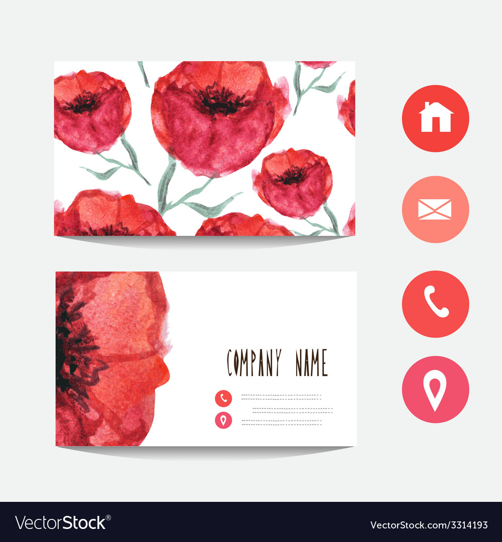 Watercolor business card vector | Price: 1 Credit (USD $1)