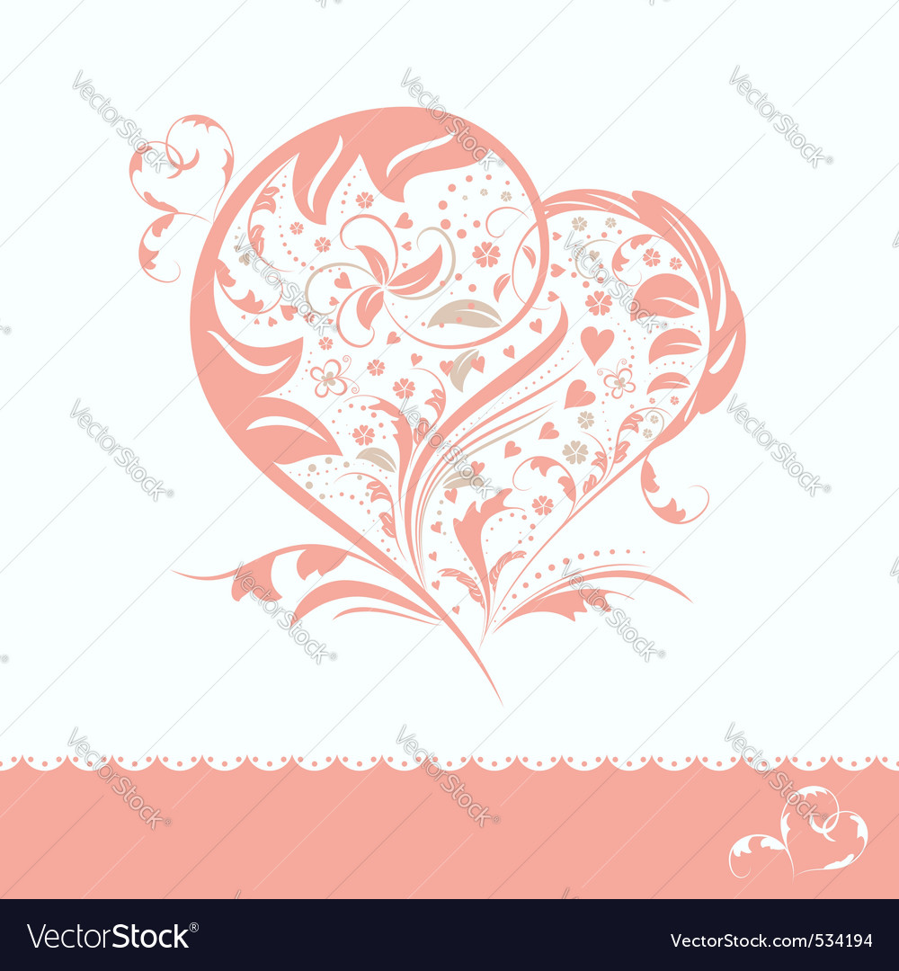 Abstract pink flower heart shape wedding invitatio vector | Price: 1 Credit (USD $1)