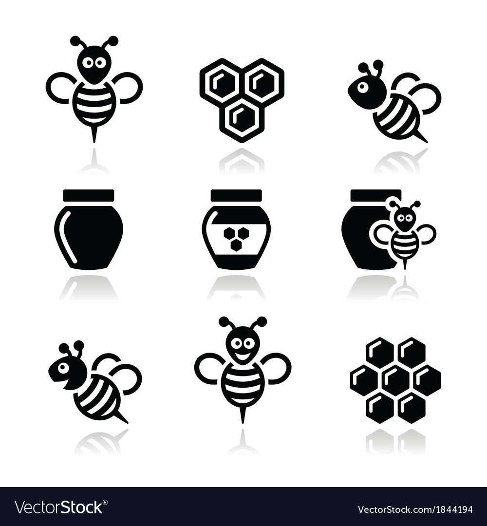 Bee and honey icons set vector | Price: 1 Credit (USD $1)
