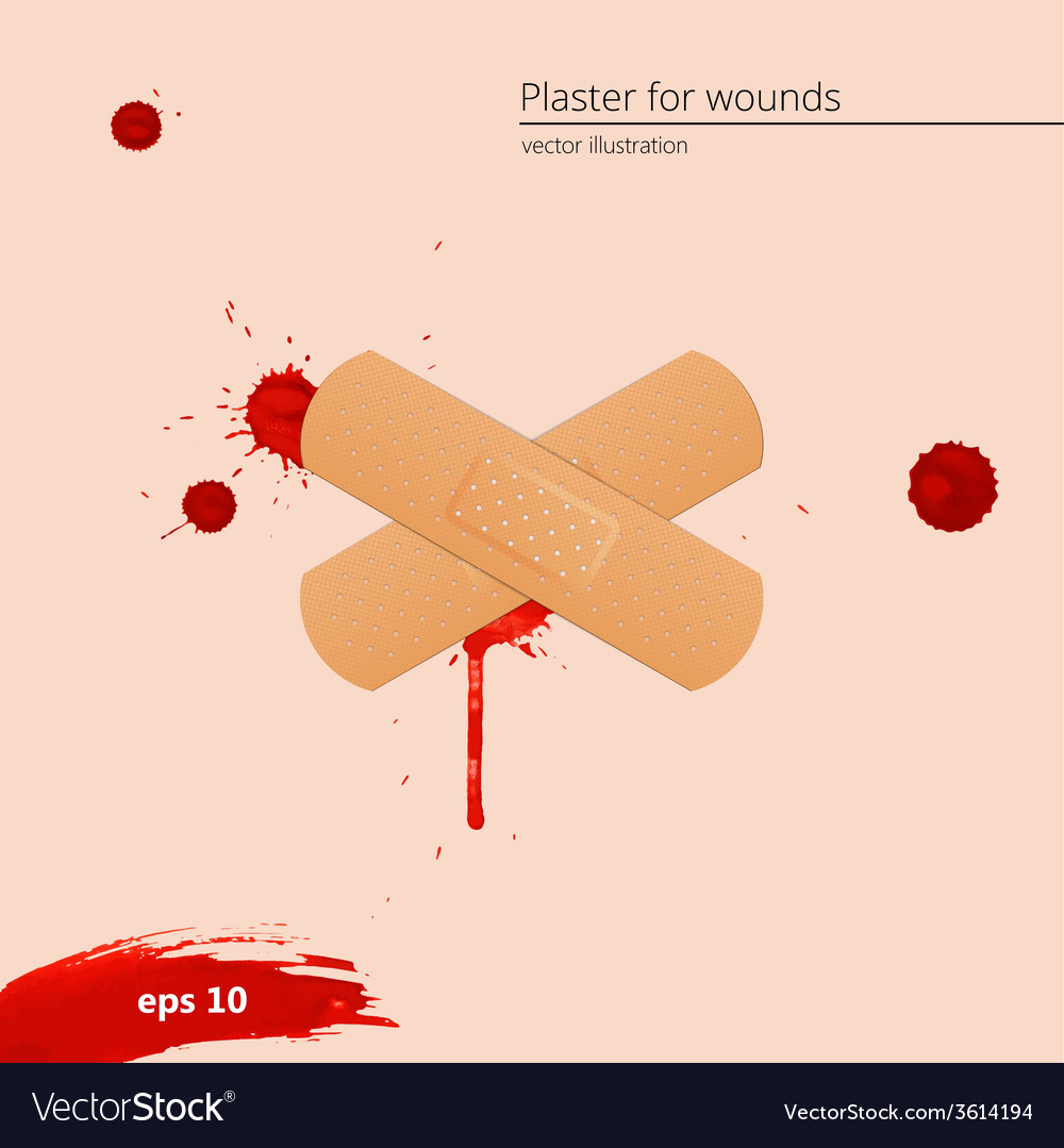 Blood drops and frame with medical plaster vector | Price: 1 Credit (USD $1)
