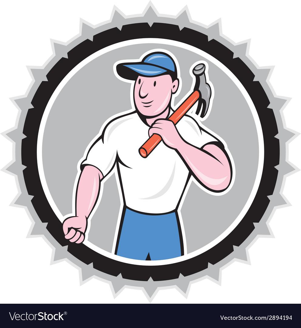 Builder carpenter holding hammer rosette cartoon vector | Price: 1 Credit (USD $1)